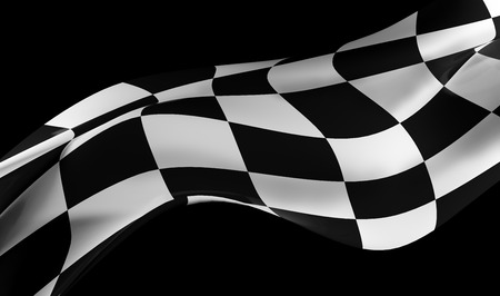 racing flag on black background , 3d image render