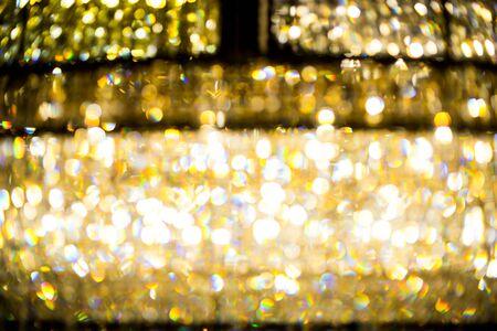 chandelier background: Blur of Luxury Chandelier Light pattern background Stock Photo