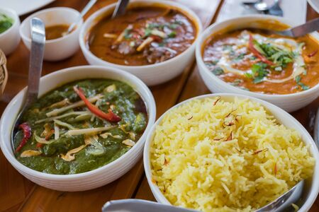 Madras: Indian cuisine, Rice with red and green curry