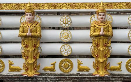 wiwekaram: Temple wall  at Wang Wiwekaram temple  Kanchanaburi, Thailand.