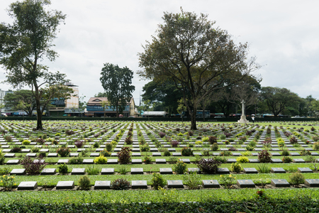 Kanchanaburi, Thailand - January 11,2017 : Kanchanaburi War Cemetery in Thailand. The cemetery contains the remains of 6,982 Allied prisoners of war the Second World War Editorial
