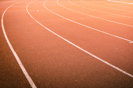 curve of lines marks in running track