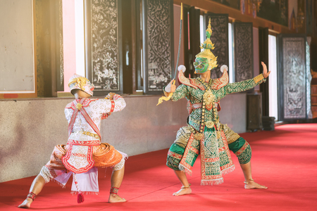 Hanuman and Tosakan is traditional dance drama art of Thai classical masked, this performance is Ramayana THAI KHON epic