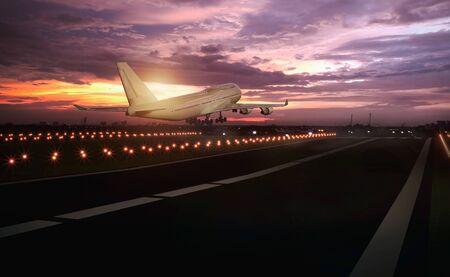 3D render image of airplane taking off runway