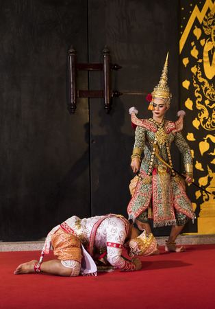 Hanuman and Praram is traditional dance drama art of Thai classical masked, this performance is Ramayana THAI KHON epic