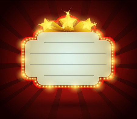 Retro banner cinema style with lights, vector  illustration