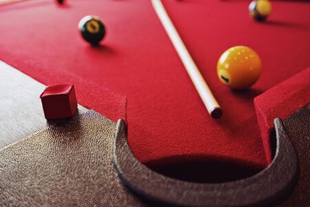 Billiard table with Billiard ball and racked Banque d'images