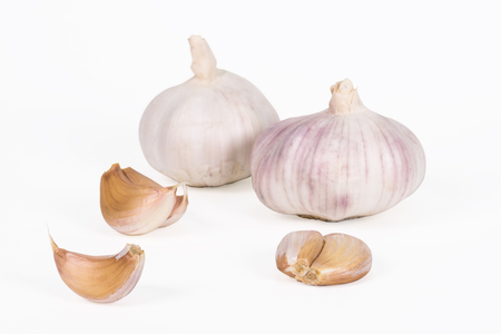 raw garlic isolated on white background with clipping path Stock Photo