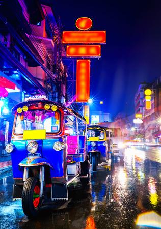 Tuk Tuk taxi in china town bangkok at the night