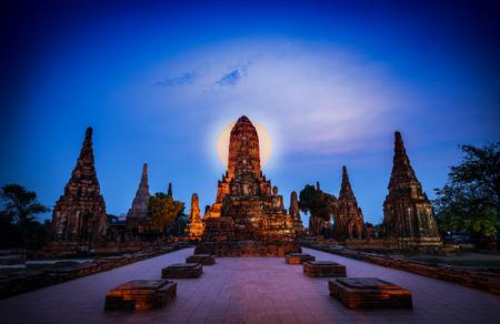 Old Temple Wat Chaiwatthanaram of Ayutthaya Province in Ayutthaya Historical Park Thailand. Stock Photo