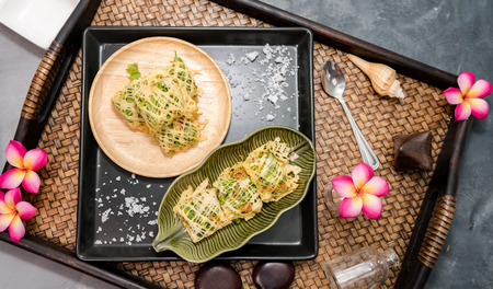 Rhum, Thai Royal Cuisine made from pork and vegetable wrapped by egg net