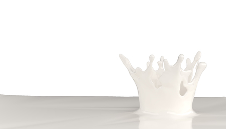 3d render of liquid milk splash on white background with clipping path