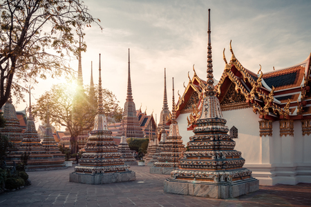 Pagoda at Wat Pho Temple landmark for tourist sightseeing in Thailand.