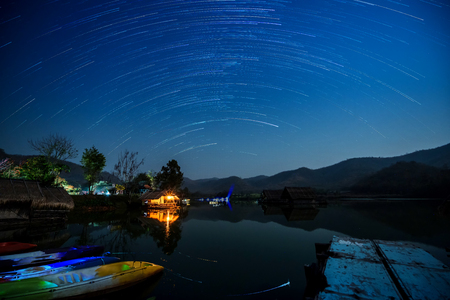 Star Trail in the mountains and lake