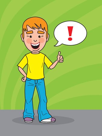 know how: Happy young man smiling and showing a thumbs up Illustration