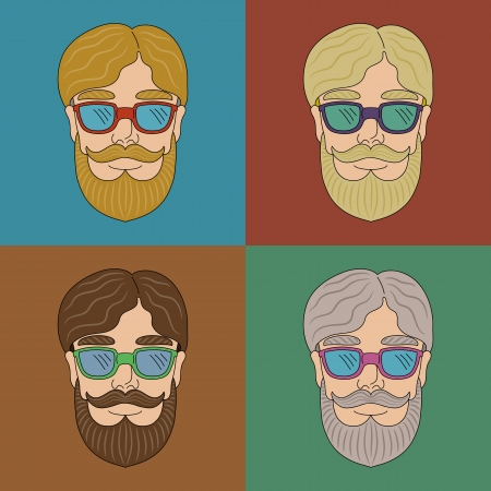 Set with a man with beard and mustache in glasses Vector