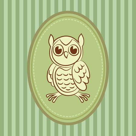 Owl in frame Vector
