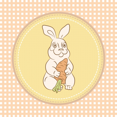 Little rabbit with carrot Vector