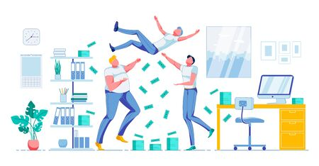 Happy Workers Team Celebrating Financial Success. Colleagues Greeting Coworker Throwing him up. Money Cash Dollar Banknote Piles and Currency Rain. Office Interior. Vector Flat Cartoon Illustration Иллюстрация