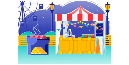 Food Fair Tent with Bunting on Roof at Carnival Foto de archivo - 134436327