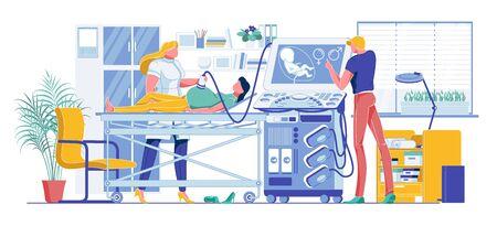 Pregnant Woman at Ultrasound Examination Cartoon