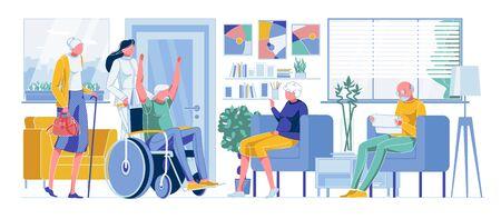 Szczęśliwy stary niepełnosprawny człowiek, starsi ludzie w kolejce do lekarza
