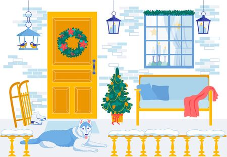 New Year Interior for Decorative Cartoon Design Standard-Bild - 134377744