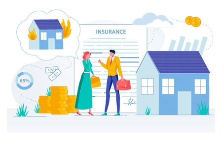 Property Insurance Agent Making Deal with Client Man and Woman Cartoon Characters. House and Apartments Protection from Accidents and Thiefth, Savings and Estate Safety. Flat Vector Illustration.