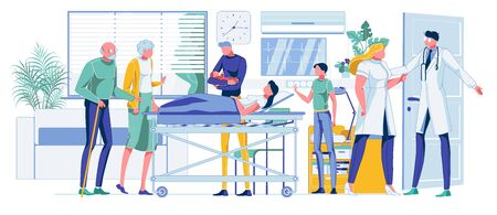 Cartoon Family Celebrating Baby Birth in Hospital Ward. Relatives Visiting Mother with Newborn Child. Doctor and Nurse Checking Health Woman and Infant. Happy Parenting. Vector Flat Illustration