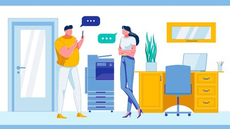 Man and Woman Having Conversation Flat Cartoon Vector Illustratiom. Male Charcater Holding Mobile Phone. Office Interior with Table,Laptop, Scanner or Printer. Colleagues at Work. Employees.