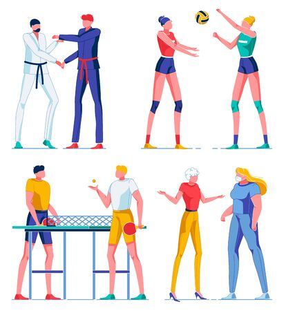 Characters in Different Sport Flat Cartoon Vector Illustration. Kind Martial Art such as Karate, Girls Playing Volleyball. Two Boy Playing Ping Pong or Table Tennis with Rackets and Ball. Doctor.