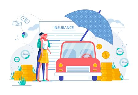 Car Insurance Agency and Movable Personal Property Protection. Family, Man and Woman Cartoon Characters Standing near Automobile Covered with Umbrella among Money Symbols. Flat Vector Illustration. Ilustração