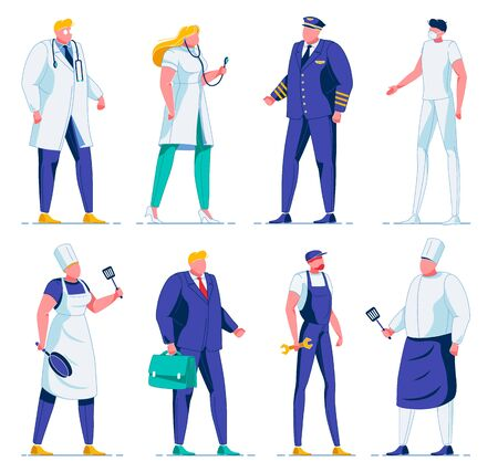 Different People in Uniform Flat Cartoon Vector Illustration. Female and Male Doctors with Stethoscope, Pilot, Chef Holding Cooking Utensils, Office Worker in Suit with Case, Plumber with Wrench.