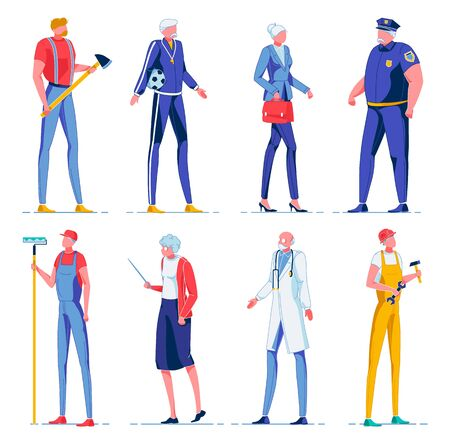 Professional Workers Set Flat Cartoon Vector Illustration. Lumberjack with Axe, Football Coach. Office Worker with Gray Hair. Overweight Policeman. Decorator, Teacher Holding Pointer. Doctor. Ilustracja