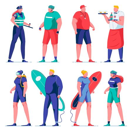 Female Police Officer in Uniform, Coach with Whistle Flat Cartoon Vector Illustration. Waital Carrying Trays with Wine and Beer Glasses. Diver with Equipment. Surfers with Biards. Bike Riders.