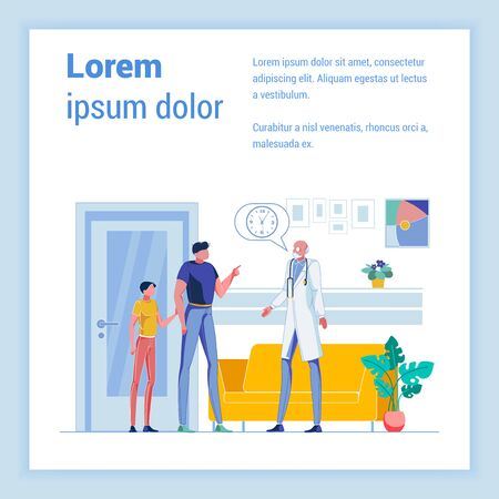 Father and School Age Boy Making Next Appointment with Experienced General Practitioner in His Office. Local Outpatient Clinic with Cozy Waiting Room. Vector Banner with Copy Space for Extra Text. Çizim