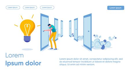 Banner Detecting Signs in new Object or Idea. Man Stands among Closed Doors. Guy Inserts Key into Keyhole. Choosing Path to Successful Idea. Behind Doors is Large Luminous Bulb, Slide. Иллюстрация
