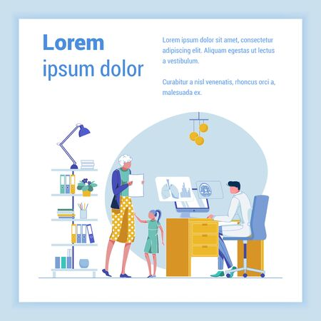 Senior Lady, Visiting General Practitioner Together with Her Granddaughter. Physician, Commenting Test Results to Senior Lady. Lungs and Brain X-Ray Images on Monitor Screen. Banner with Copy Space. Illusztráció