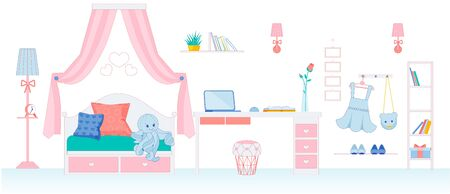 Childrens Room for Little Girl in Pink Colors.