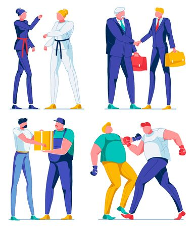 Cartoon Female and Male Characters Flat Cartoon Vector Illustration. Karate Women in Uniform. Men Workers Shaking Hands. Delivery Man Giving Box Parcel. Two Overweight People Boxing.