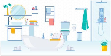Spacious Bathroom for two, Vector Illustration.