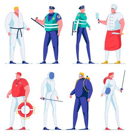 Cartoon Swordsman, Fencing Sport, Police Officer. Ilustração