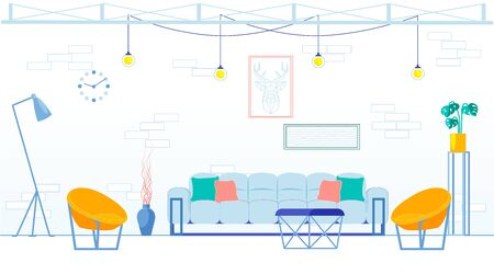 Large Loft Style Living Room with Brick Wall. Middle Room there Large Sofa for Guests and Coffee Table, next to Sides are Low Fashionable Chairs. Lamps Hang Top Wires, and Deer Picture on Wall. Ilustração