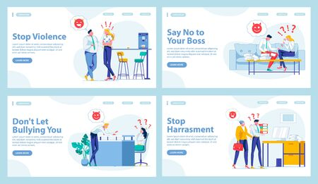 Harassment in Workplace Types. Four Landing Pages Ilustracje wektorowe