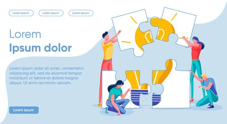 Vector Banner Composing Ideas from Puzzle Pieces.