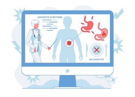 Doctor Explaining Gastritis Symptoms Illustration