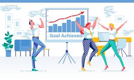 United Office Team Celebrating Goal Achievement