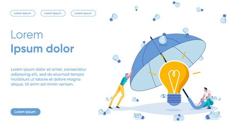Idea Protection Flat Landing Page Vector Template Illustration