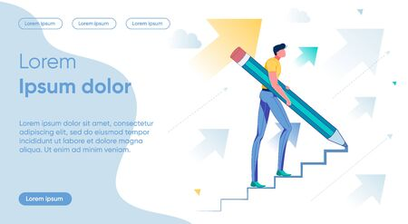 Forward Movement Flat Landing Page Vector Template Illustration
