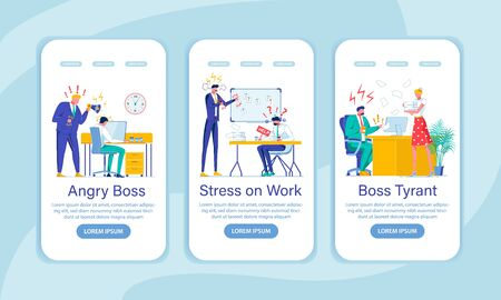 Bad Boss, Stress Onboarding Screen Flat Template. Adverse Office Atmosphere, Pressure. Shouting Chief and Subordinate Faceless Characters. Labor Psychology Mobile App Interface Cartoon Vector Layout